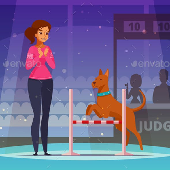 Pet Competition Cartoon Composition
