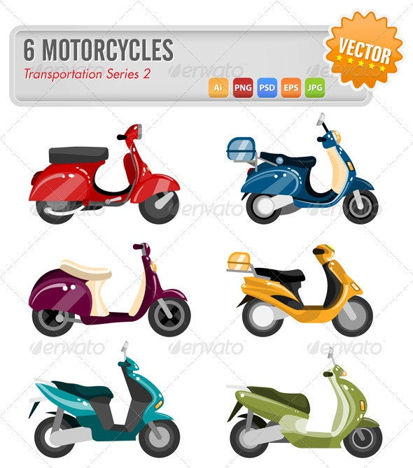 6 Motorcycles - Objects Vectors