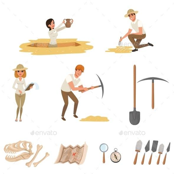 Cartoon Flat Icons Set with Tools