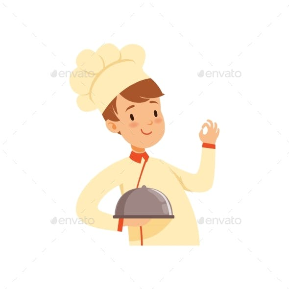 Chef Cook Character with Cloche