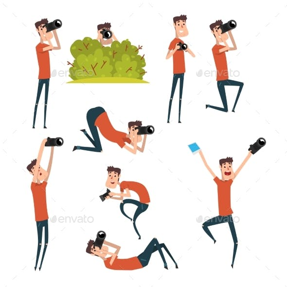 Set of Photographers in Different Situations