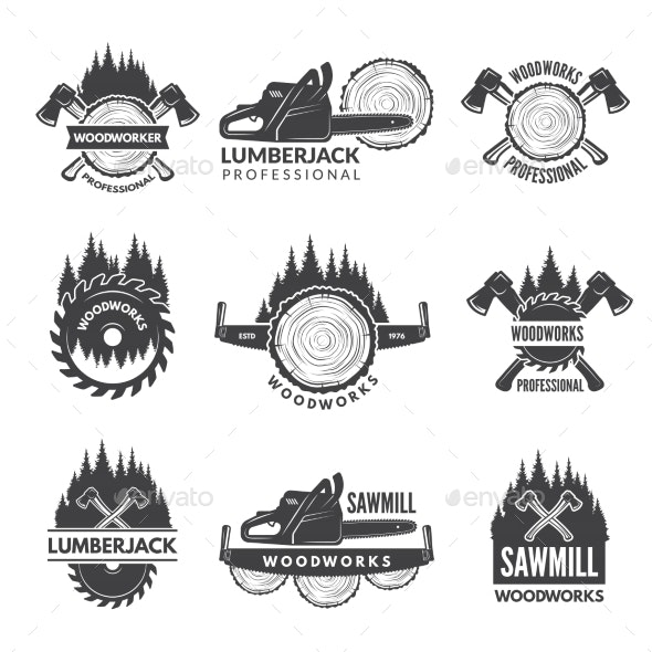 Badges Set for Wood Working Industry - Web Elements Vectors
