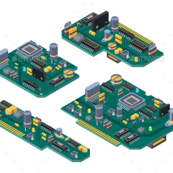 Different Computer Boards with Semiconductors