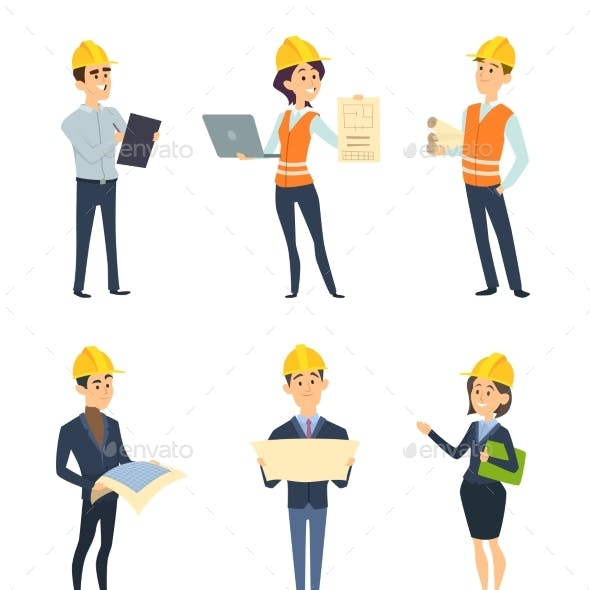Industrial Workers. Male and Female Architect