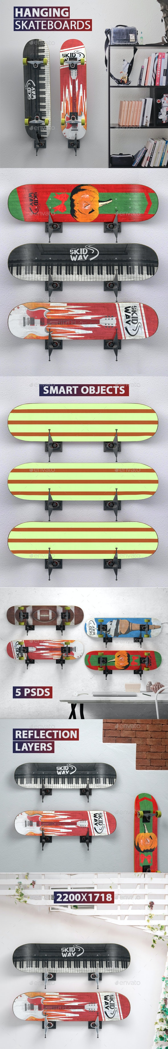 Hanging Skateboards PSD Mock-ups