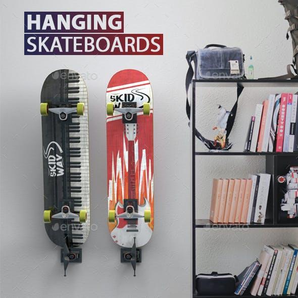 Hanging Skateboards PSD Mock-ups