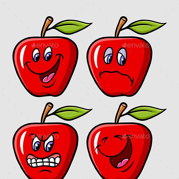 Apple Cartoon Expression