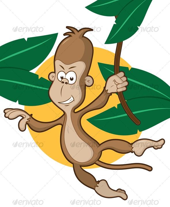 Monkey on a vine - Characters Vectors