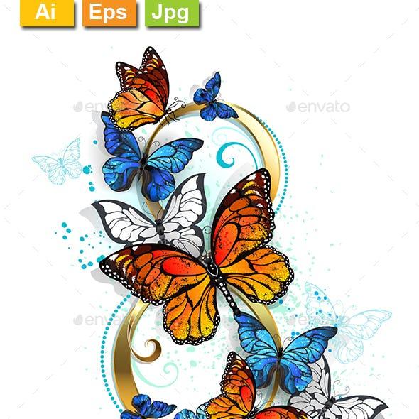 Eight of Monarch Butterflies