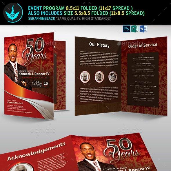 Crimson plus Silver Pastor's Anniversary Church Program Template