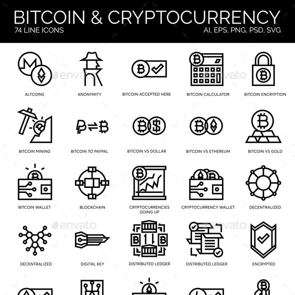Blockchain, Cryptocurrency, Bitcoin Icons