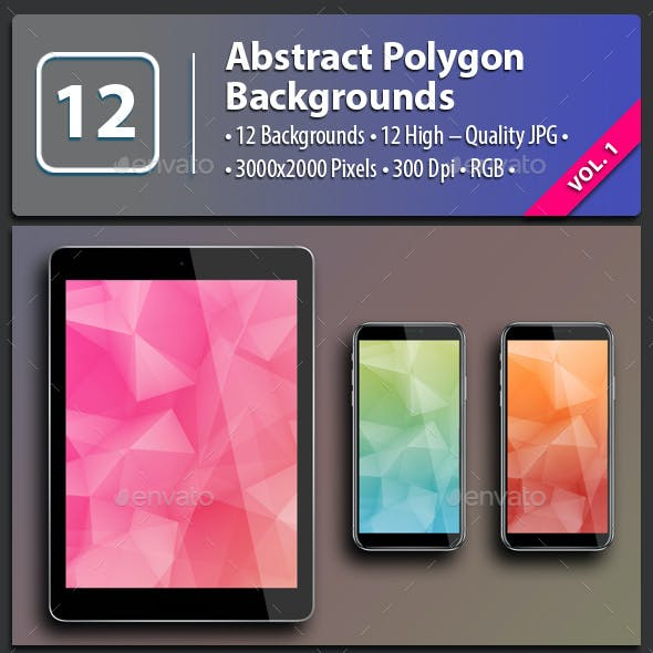 12 Abstract Polygon Backgrounds Vol.1