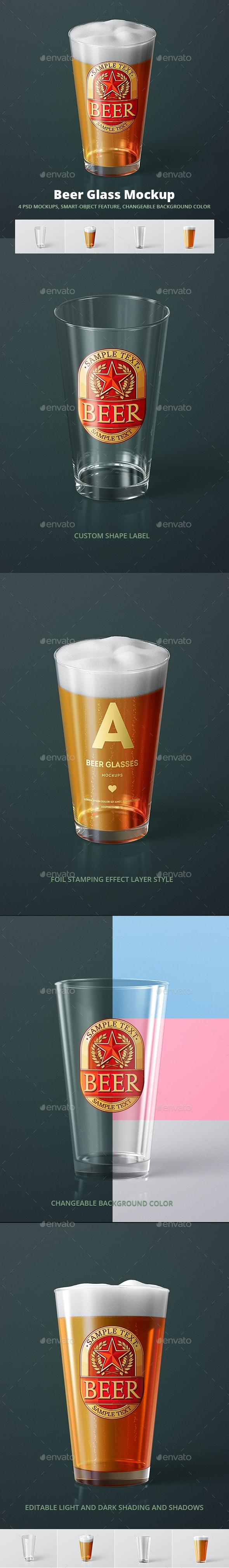 Beer Glass Mock-up - American Pint