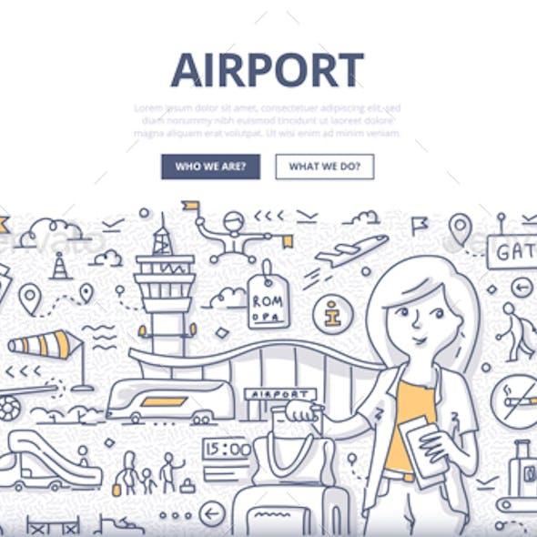 Airport Doodle Concept