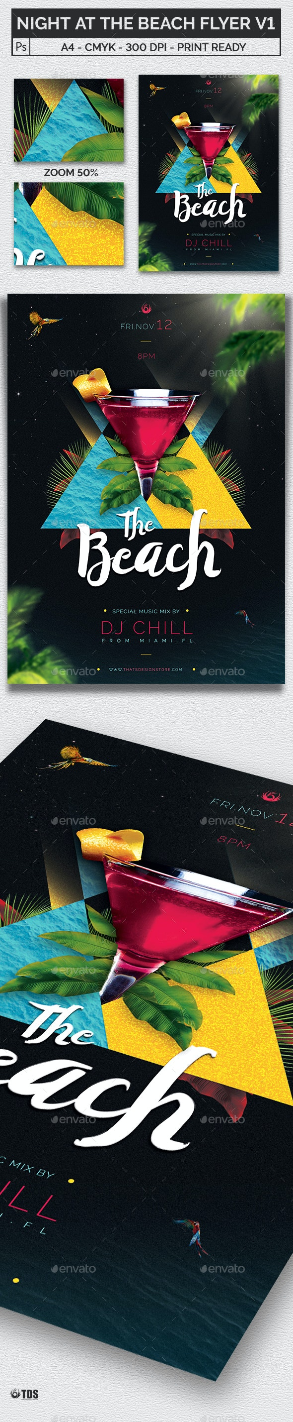 Night at The Beach Flyer Template V1 - Clubs & Parties Events