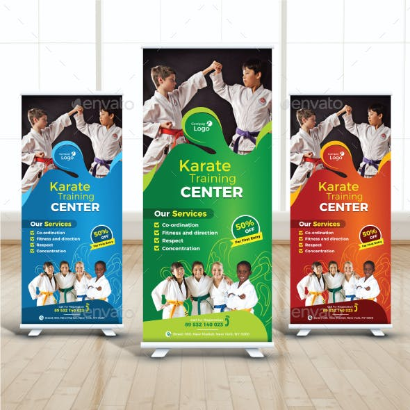 Kids Karate Training Roll Up Banner