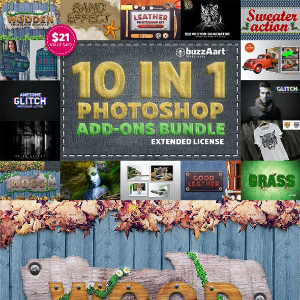 10 IN 1 Photoshop Add-Ons Bundle