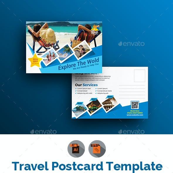Holiday Tour Travel Postcard Template