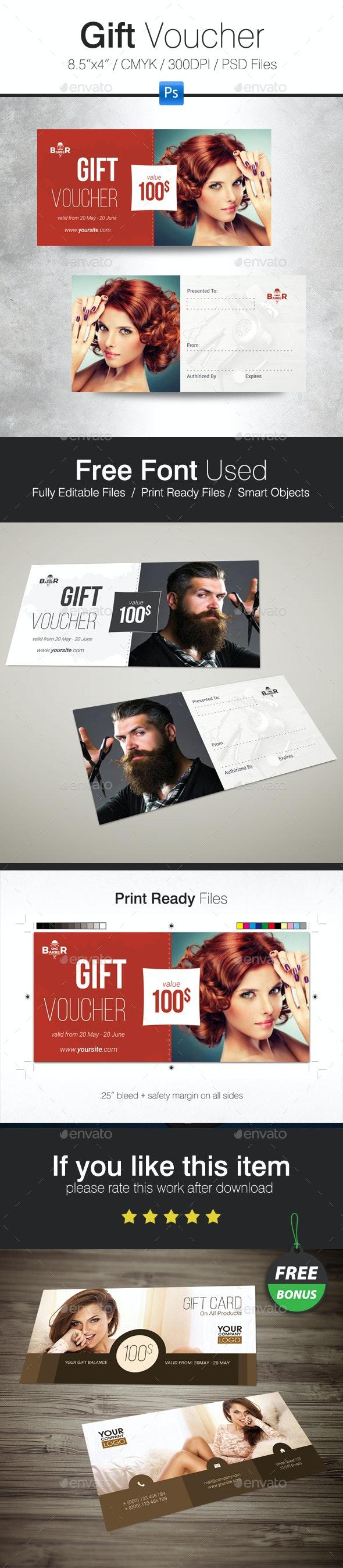 Hairdresser Salon Gift Voucher - Cards & Invites Print Templates