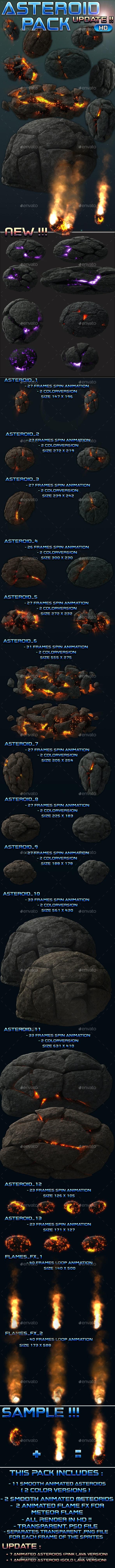 Asteroid Meteroid Pack - Sprites Game Assets