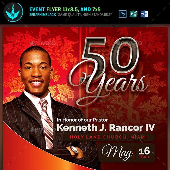 Crimson Pastor's Anniversary Church Flyer Template