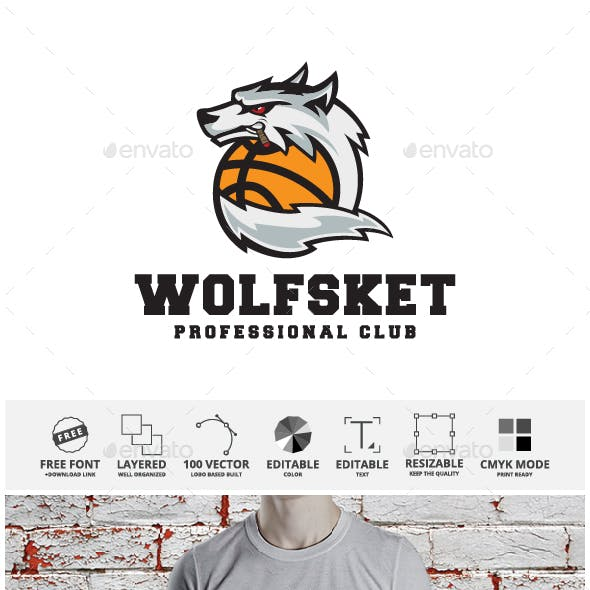 Wolf Basketball Logo Template