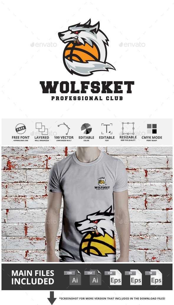 Wolf Basketball Logo Template - Sports Logo Templates