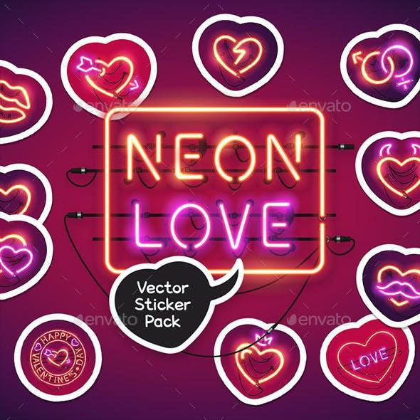 Neon Valentine's Day Sticker Icons Pack
