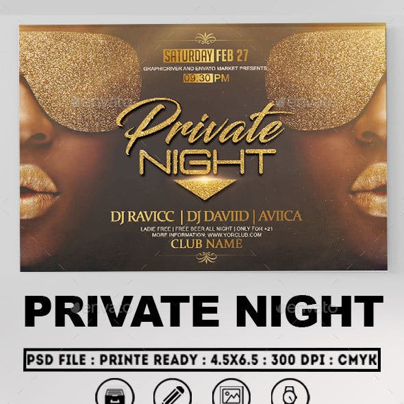 Private Night Flyer Template