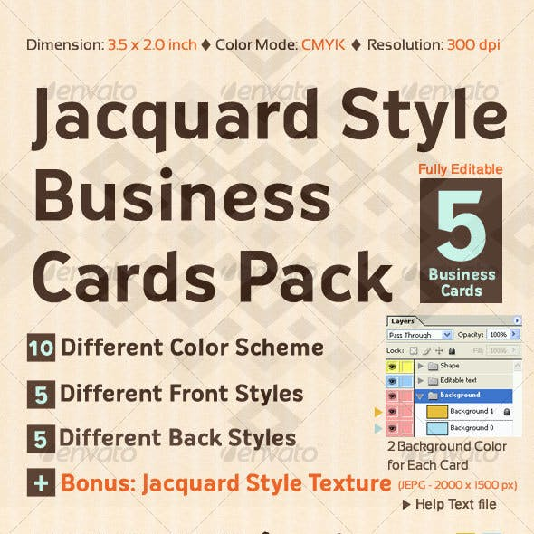 Jacquard Style Business Cards Pack