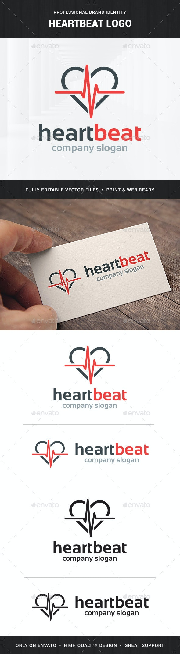 Heartbeat Logo Template - Symbols Logo Templates