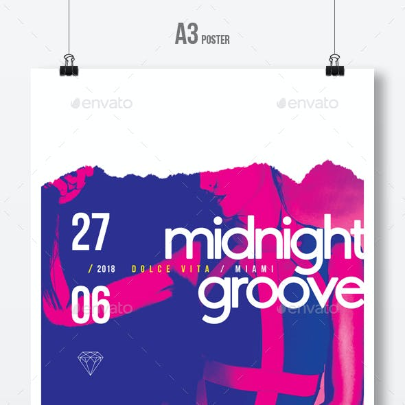 Midnight Groove - Party Flyer / Poster Artwork Template A3