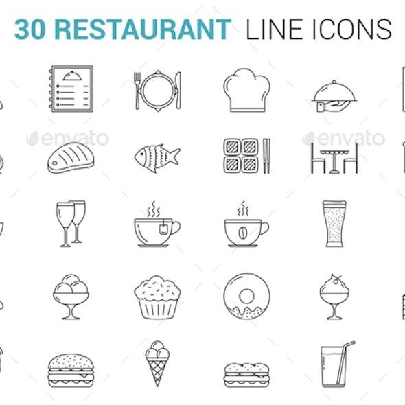 Restaurant Line Icons
