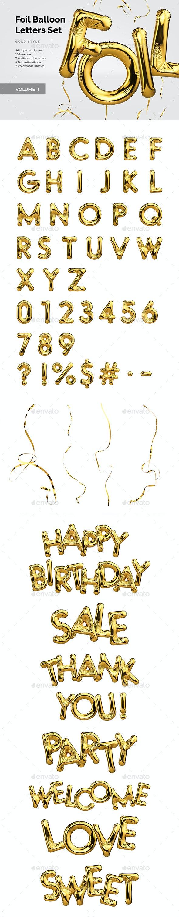 Foil Balloon Letters Set - Objects 3D Renders