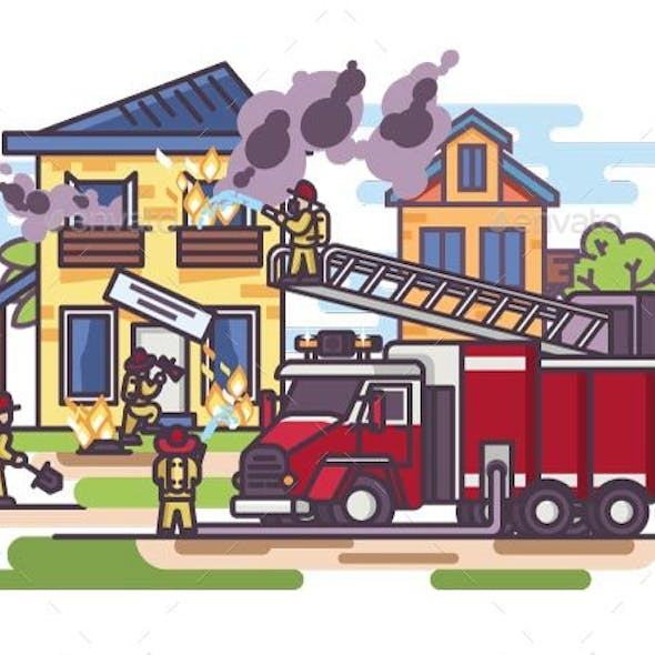 Firemen and Fire Truck with the Equipment