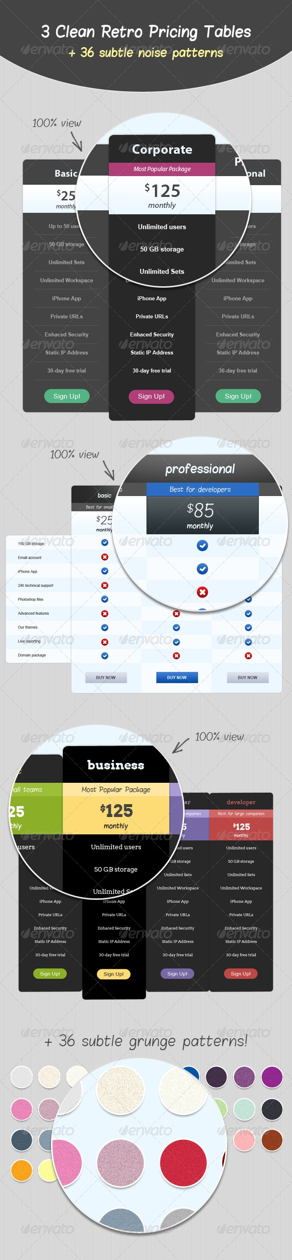 3 Clean Retro Pricing Tables  - Tables Web Elements