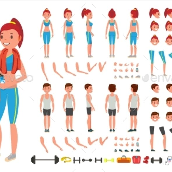 Fitness Girl, Man Vector. Animated Sport Male