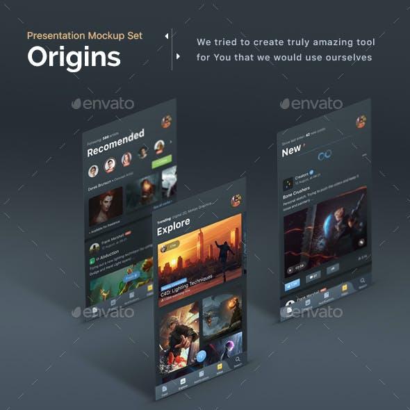 Origins - Mobile App Display Mockups