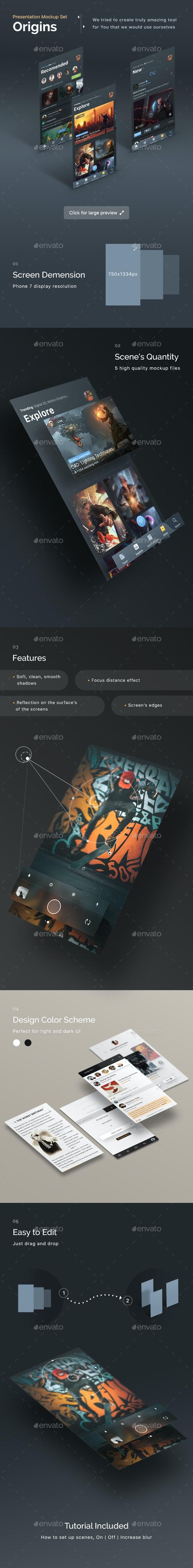 Origins - Mobile App Display Mockups - Mobile Displays