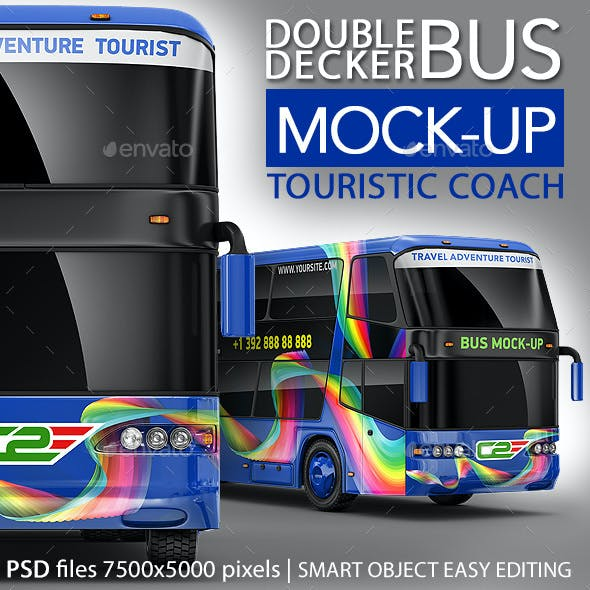 Tourist Bus, Passenger Coach, Double-Decker Bus Mock-Up