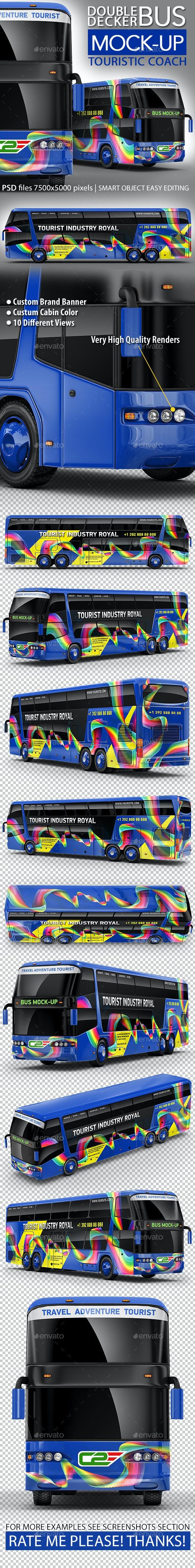 Tourist Bus, Passenger Coach, Double-Decker Bus Mock-Up - Vehicle Wraps Print
