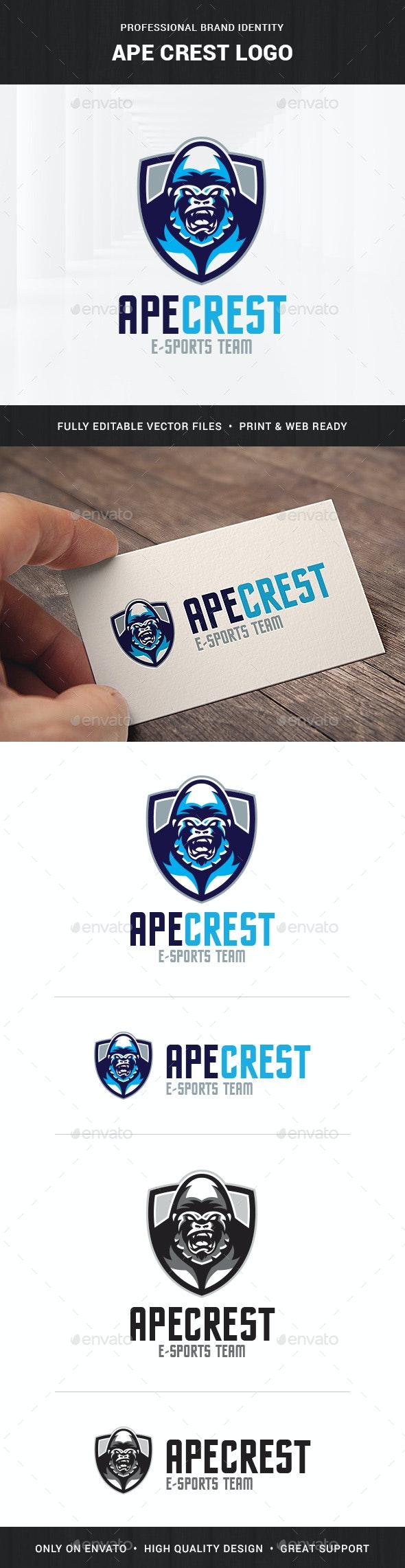 Ape Crest Logo Template - Animals Logo Templates