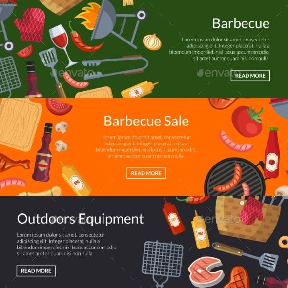 Vector Horizontal Banner Templates for Barbecue