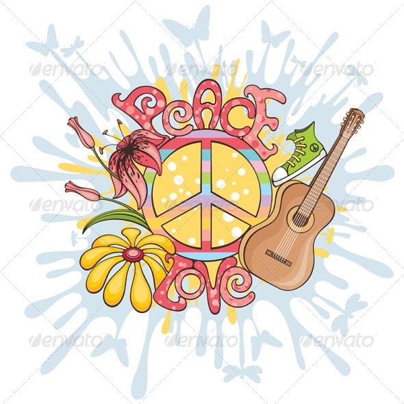 Abstract Hippie Vector Illustration