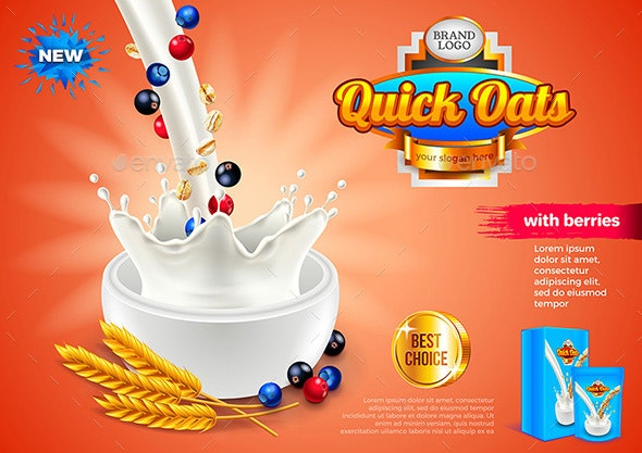 Oatmeal Ads 3D Illustration and Packaging - Food Objects