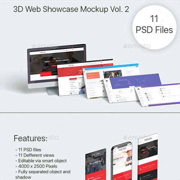 3D Web Showcase Mock-ups Vol. 2