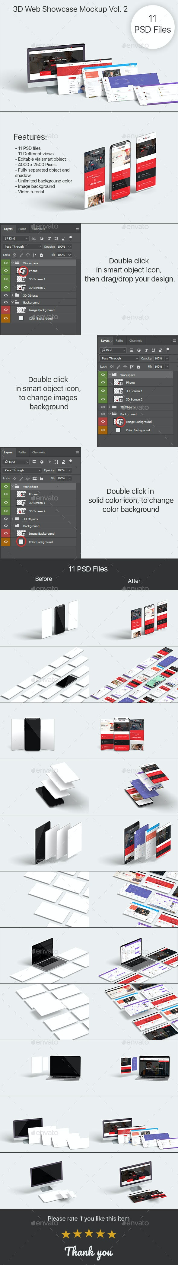 3D Web Showcase Mock-ups Vol. 2 - Displays Product Mock-Ups