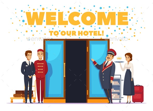 Welcome To Hotel Cartoon Poster - People Characters
