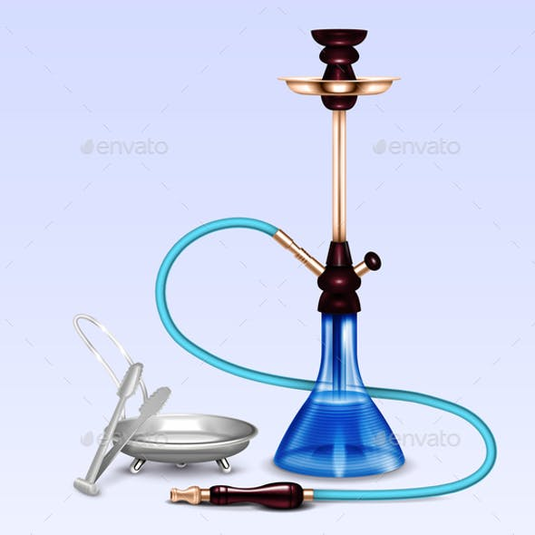 Hookah Smoking Accessories Realistic Set