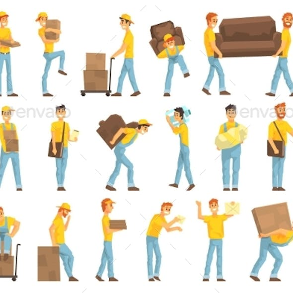 Delivery and Moving Company Employees Carrying